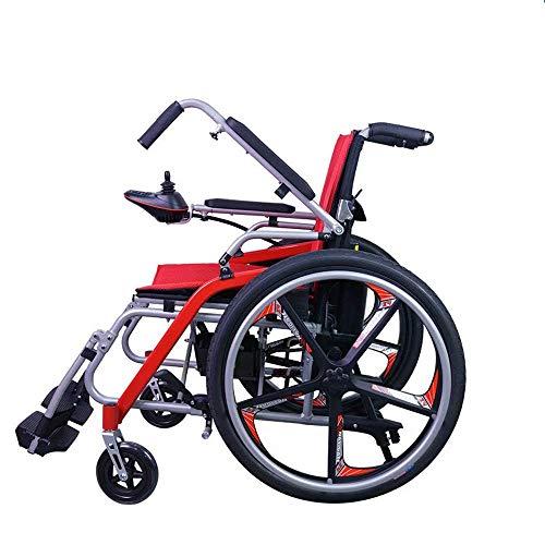 DLY Älterer Rollstuhl Leichtes Zusammenklappen mit Elektrischem Handgriff, Solides Vorderrad Ohne Aufpumpen. die Einstellbare Anti-Kipp-Rückenlehne Kann bis zu 20 Km Lang