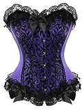 Damen Schwarz Weiß Body Shaper Vollbrust Corsage Top Übergrößen (EUR(44-46)4XL, Violett)
