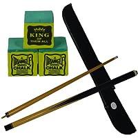 IQ Pool - Taco de billar desmontable en 2 partes (1,22 cm, funda y 3 tizas verdes incluidas)