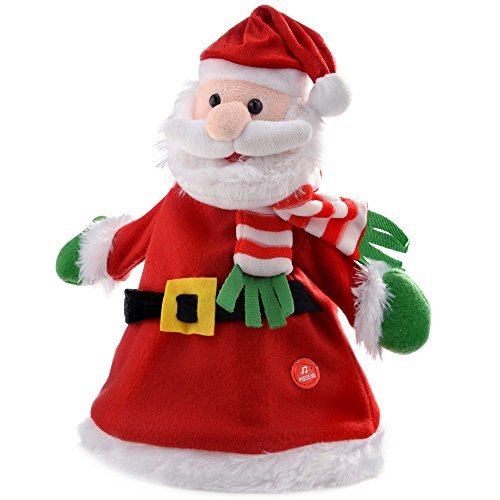 Natale wer 30 cm con progettazione edilizia e cappello di babbo natale che canta di natale, multicolore