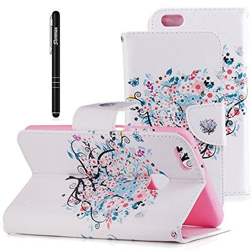 Slynmax Wallet Ledertasche Hülle Kompatibel mit Huawei P10 Lite Hülle Briefcase PU Leder Tasche Flip Case Weiß Kirschbaum Brieftasche Lederhülle Slim Weich Handyhülle Klapphülle mit Stand Karte