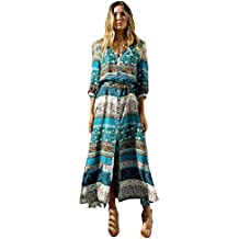Vestido de mujer- SHOBDW Cóctel de las mujeres de Boho del partido de noche largo del vestido del verano de la playa vestido V-Cuello de tirantes