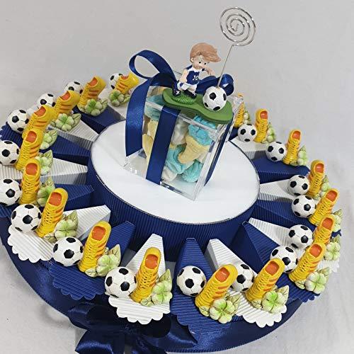 Torta bomboniera portaconfetti compleanno nascita comunione con scarpette calcio e pallone + centrale + confetti *