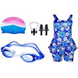 Swimming Kit For Girls With 1 Girls Swimwear, 1 Silicone Swim Cap, 1 Goggle, 2 Pair Ear Plugs And 1 Nose Clip Combo (Multicolor)