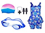#9: Swimming kit for Girls with 1 Girls Swimwear, 1 Silicone Swim Cap, 1 Goggle, 2 Pair Ear Plugs and 1 Nose Clip Combo (Multicolor)