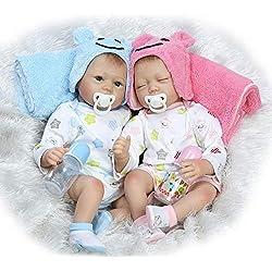 Doll 22 Pulgadas / 55 cm Gemelo Muñeca Reborn Muñecas de Silicona Suave Realista Realista para bebés recién Nacidos Hechos a Mano para niños Regalo de cumpleaños