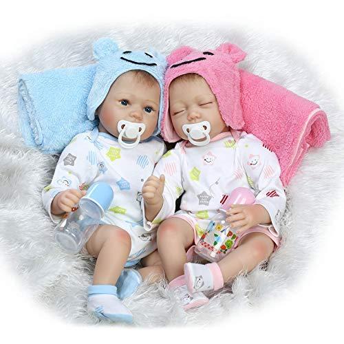 ac393ee5 Doll 22 Pulgadas / 55 cm Gemelo Muñeca Reborn Muñecas de Silicona Suave  Realista Realista para