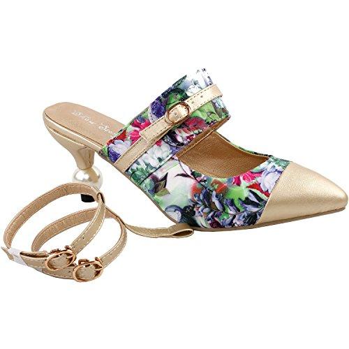Visualizza storia incredibile stampa floreale caviglia cinghie punta Toe squisita perla tacco vestito Pump, LF60403 Verde
