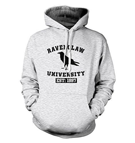 net-shirts Ravenclaw Hoodie Kapuzenpullover mit Aufdruck im College Style inspired by Harry Potter, Größe M, Graumeliert