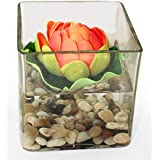 Tied Ribbons Glass Vases with Faux Lotus and Natural Stones Artificial Decorative Flowers With Vase