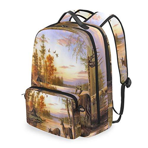 Lustiger Vintage Wald Animal REH Rucksack Abnehmbare Schultertasche Schultasche Computertasche Crossbody Bag Daypack für Kinder Jungen Mädchen -