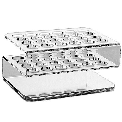 Tuuters.de 24-Loch Reagenzglashalter aus Acryl | Glasklar ✓ Deko ✓ diverse Größen (24-Loch S-Rack - Ø 20.5mm)