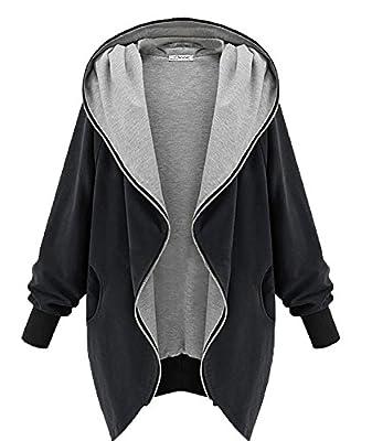 Yying Frauen Mantel Hoodie Parka Damen Sweatshirt Oversize Kapuzenjacke Mantel Wintermantel Full Zipper Jacke Outwear Winter Herbst Coat Schwarz Olive Khaki XS - 5XL