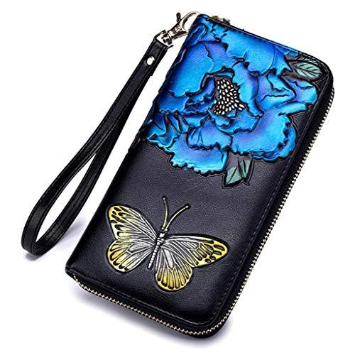 Damen Geldbörse Mode Rose Lange Handtasche Reißverschluss Geldbörse Mit Handschlaufe (Farbe : Blau, größe : One Size)
