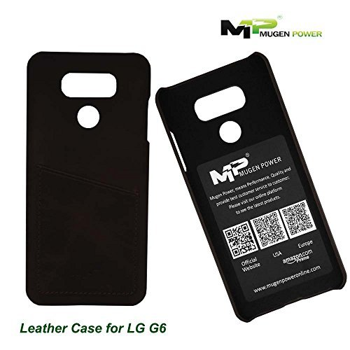 LG G6 (Movistar, Vodafone,Yoigo,Orange Spain), Funda de cuero, Mugen Power [Classic Series] Auténtico lujo Premium Funda de cuero auténtico con Tarjeta de Crédito / Tarjeta de identificación la ranura [Ultra Slim] - Negro