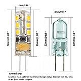 Minger 2.5W G4 LED Lampen, Ersatz für 20W Halogenlampen, 180lm, Warmweiß, 3000K, 2835 SMD Kieselgel LED Dekorative Leuchten, LED Birnen, LED Leuchtmittel, AC/DC 12V, 10er Pack