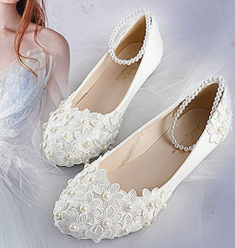 JINGXINSTORE Pizzo Bianco perla caviglia fiori matrimonio a cuneo Appartamenti scarpe tacchi Nuziale white