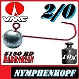 VMC Jighaken Jigkopf Nymphenkopf Wacky Größe 2/0 10g 5 Stück im Set mit VMC Barbarian 5150 RD Haken