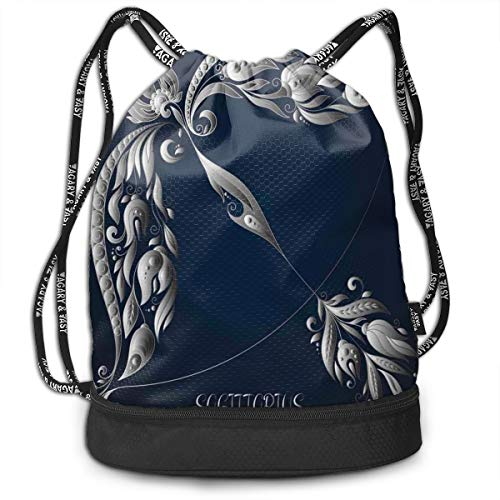 Printed Drawstring Backpacks Bags,Hand Drawn Bow Arrow Motif with Leaves Flowers Astrology Sign,Adjustable String Closure -