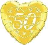 DeCoArt... Folienballon Goldene Hochzeit deutscher Aufdruck gold Herz 43 cm ungefüllt Ballongas geeignet und 10 Latexballons klein ca. 12,5 cm perl mix zur Fertigung einer Ballonkugel als Ballongewicht Farben: sortiert mix (mit DeCoArt... Anleitung zur Fertigung)