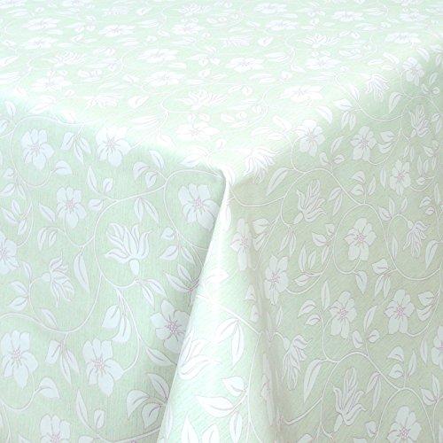 (WACHSTUCH Tischdecken Gartentischdecke mit Fleecerücken Pflegeleicht Schmutzabweisend Abwaschbar Outdoor Weiße Blumen Mint (01398-03) 140x140 cm - Größe individuell wählbar)