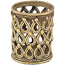 TRIBES INDIA Brass Handcrafted Dokra Pen Stand (Golden, Standard Size)