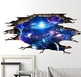 HALLOBO Sticker Mural Univers planète Galaxie fenêtre 3D Autocollant de Sol Autocollant de Plafond Wall Sticker Décoration Salon Chambre Maison la Chambre des Enfants bébé Enfant garçons Filles