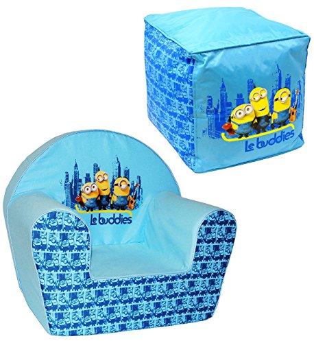 """2 tlg. Set _ Kindersofa / Kindersessel & Sitzsack - """" Minions - Ich einfach unverbesserlich """" - kleines Sofa - für 1 bis 3 Jahre - Sessel / Kinderstuhl - BLAU - Kindermöbel für Mädchen & Jungen - Schaumstoff - Couch / Einzelsofa - Stoff - Stuhl Stühle / Kinderzimmer - Minion / Mark Dave Stuart Bob Kevin - Despicable Me - Kinder / Sofa"""