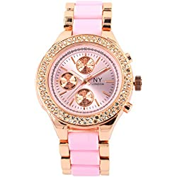 Branded Fashion Ladies Watch / Womens Watch at Discounted Sale Price - Rose Gold & Pink Watch with Crystals