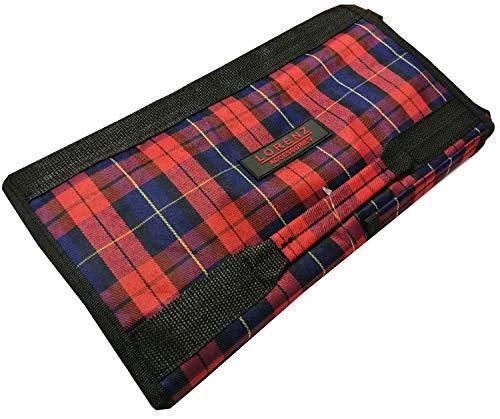 Einkaufstasche mit Rollen, faltbar, leicht, mit Vordertasche und Reißverschluss rot kariert