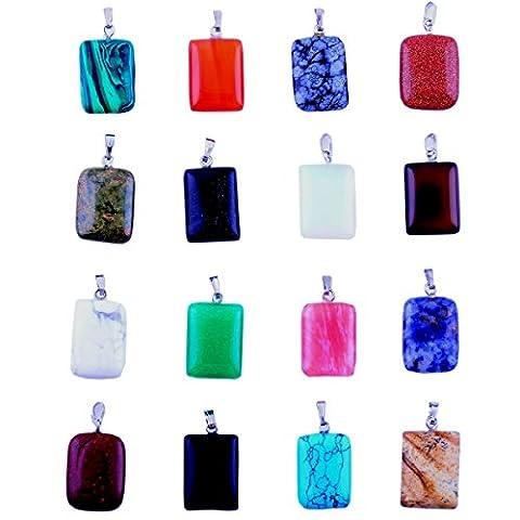 20pcs Gems Rectangle Healing Pointed Chakra Rock Beads Pendants Semi-Precious Handmade Quartz Crystal Stone Beads Pendant for Necklace Jewelry Making