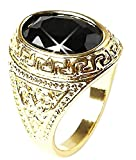 EVRYLON Anillo de Oro Color Negro Piedra Hombre Idea de Regalo Power Bijoux UK tamaño T 1/2 cumpleaños día de San Valentín Navidad Joyas para él Joyas niños