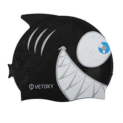 Vetoky cuffia nuoto, unisex cuffia piscina in silicone adatto per adulto e bambino - squalo nero