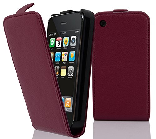 Cadorabo Hülle für Apple iPhone 3/iPhone 3GS - Hülle in BORDEAUX LILA – Handyhülle aus strukturiertem Kunstleder im Flip Design - Case Cover Schutzhülle Etui Tasche