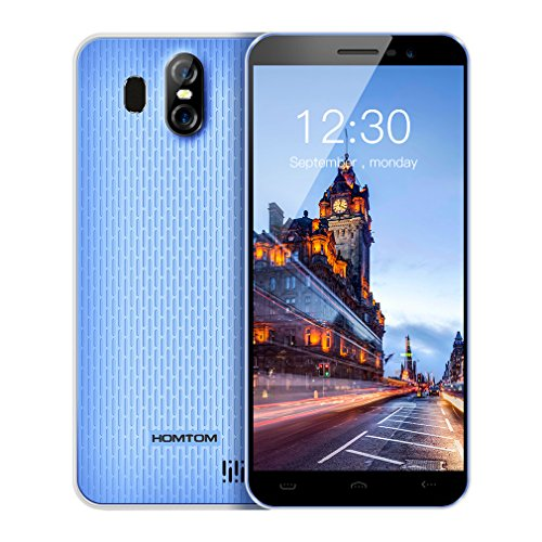 HOMTOM S16 Smartphones Débloqué Android 7.0,5.5'' Écran 18:9, 13+2MP Caméra Arrière, 2G RAM+16G ROM, 3000mAh Double SIM, MTK6580 Quad Core, 3G Empreinte Digitale Téléphones Portables Pas Cher(Bleu)
