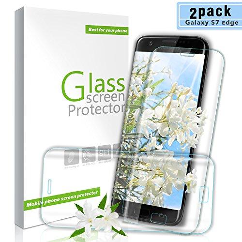 Youer Galaxy S7 Edge Panzerglas Schutzfolie, [2 stück] 9H Härte Premium Gehärtetem Glas Displayschutzfolie, Anti-Kratzen, Anti-Öl, Anti-Bläschen, für Samsung Galaxy S7 Edge - Transparent