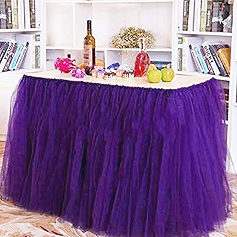 VANELIFE TUTU Snowflake Tulle Table Skirt, Romantic Dream Tablecloth for Baby Shower Birthday Wedding Party Princess, Purple