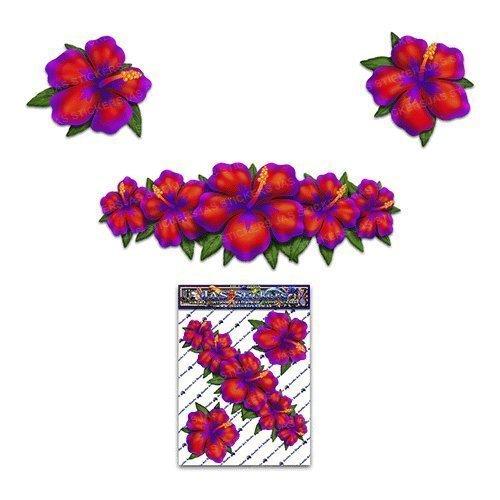 Kleiner roter Hibiscus-Blumen-Satz-Aufkleber für Auto-LKW-Wohnwagen-Laptop - ST00044_SML - JAS Aufkleber