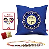#9: Rakshabandhan Rakhi Gifts Hamper Designer Crystal Studded Rakhi for Brother with Roli Chawal & Happy Rakshabandhan Greeting Card Blessed to Have You as my Brother Blue Printed 12x12 Cushion with Filler Perfect Rakhi Gift Combo for Brother Bhaiya (Rakhi for Rakshabandhan, Rakhi Gifts for Brother, Rakhi)