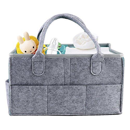 GoodFaith8Baby Windel Caddy Tragbar Windel Organizer Filz Korb, Windeln Baby-Feuchttücher Tasche Grey + Cyan 38x27x18cm