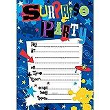 Simon Elvin Einladungskarten für Überraschungsparty, Aufschrift in englischer Sprache, Design Alien Monsters, 20Stück mit Umschlägen