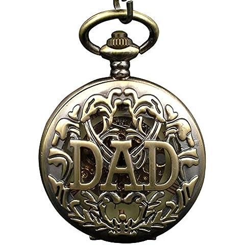 ShoppeWatch Dad reloj de bolsillo mecánico esqueleto Dial Bronce Filigrana Funda Steampunk Half Hunter pw-179