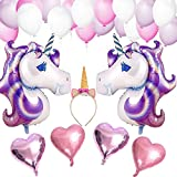 VSTON Einhorn Party Dekoration Ballons Happy Birthday Party Supplies Wimpel Banner Seidenpapier Pom Rosa Blumen Garland für Mädchen Kinder Kind (Schöne Rosa Lila Thema)