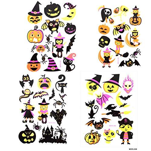 Spestyle Halloween Tattoo Aufkleber 4pcs Luminous Tattoo Aufkleber in 1 Paket, es einschließlich Engel, Hexe, Fledermaus, Katze, Spinnennetz, Kürbis, Teufel, Elf, Schädel Kopf, - Paint Halloween-kürbis-body