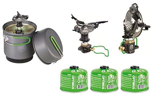 Optimus Outdoor Kochsystem Crux Weekend HE inclusive Gaskocher + 3 Stück Gaskartuschen -
