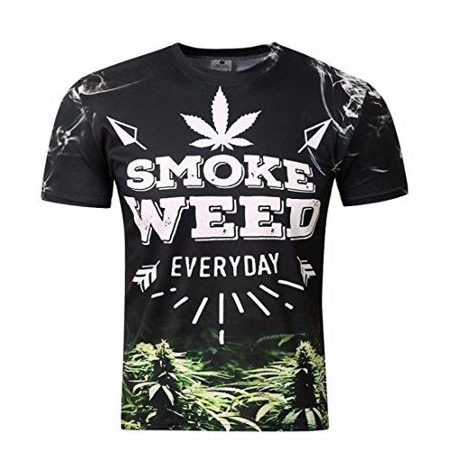Men's 3D Weed Everyday Lettres Printed Joker Casual Tee Shirt TX26