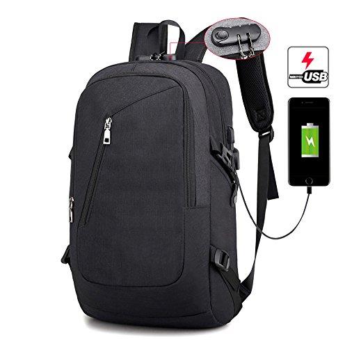 """KADUNDI - Mochila para ordenador portátil con puerto de carga USB y bloqueo codificado, resistente al agua, compatible con portátiles de 15,6"""" (Negro)"""