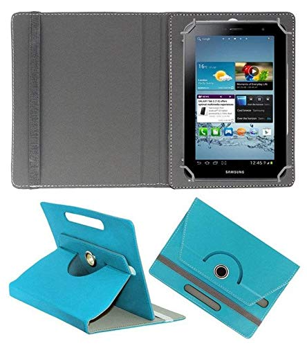 "Hello Zone 360° Rotating 7"" Inch Flip Case Cover Book Cover for Micromax Canvas Tab P701 Plus Tablet -Sky Blue"