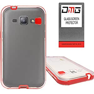 DMG LED Flashing Call Notification TPU Back Cover Case for Samsung Galaxy J1 (Red) + Tempered Glass Screen Protector