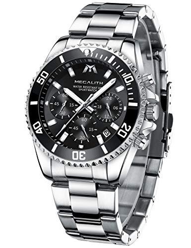 orologio uomo orologio militare acciaio cronografo impermeabile luminosi design orologi quadrante grande da polso elegante argento sportivo analogici data